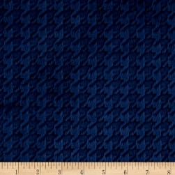 Shannon Minky Cuddle Embossed Houndstooth Navy Fabric