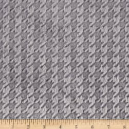 Shannon Minky Cuddle Embossed Houndstooth Silver Fabric