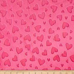 Shannon Minky Cuddle Embossed Heart Fuchsia Fabric