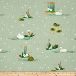 Birch Organic Swan Lake Main Mint Fabric