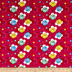 Corduroy Print Happy Face Fuschia Fabric