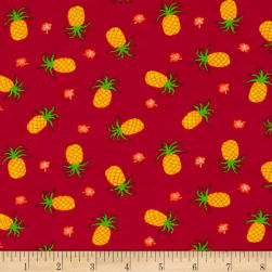 Cotton/Lycra Spandex Jersey Knit Pineapple Hot Pink