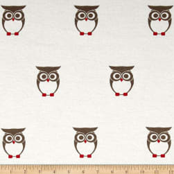 Cotton Lycra Spandex Jersey Knit Owl Grey/White