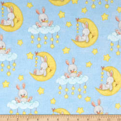Comfy Flannel Bunny On Moon Multi Fabric