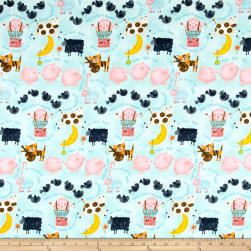 Comfy Flannel Nursery Rhymes Blue Fabric