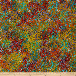 Indian Batik Cascades Scroll Rust/Blu Multi Fabric