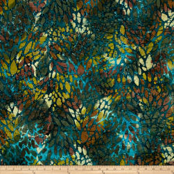 Indian Batik Cascades Stain Glass Teal Multi Fabric