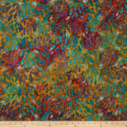 Indian Batik Cascades Stain Glass Rust/Blu Multi Fabric