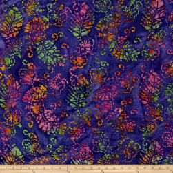 Indian Batik Jewel Box Leaf Purple/Pink/Green Fabric