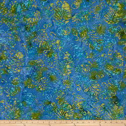 Indian Batik Jewel Box Leaf Blue/Green Fabric