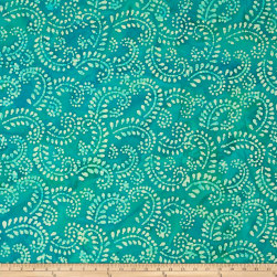 Indian Batik Hollow Ridge Scroll Vine Teal/Natural Fabric