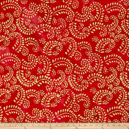 Indian Batik Hollow Ridge Scroll Vine Red/Natural Fabric