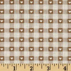 Scandi 3 Heart Plaid Linen/Tan Fabric