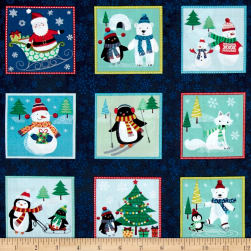 Frosty Frosty Squares Blue Fabric