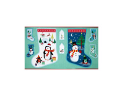 Frosty Large Stocking 24'' Panel Blue Fabric