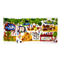 1,2,3 To The Zoo Zoo Animals 24 In. Panel Multi