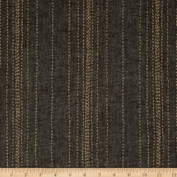Andover Printed Chambray Stitch Lines Black/Gold Fabric