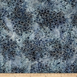 Wilmington Batiks Flower Field Gray/Blue Fabric