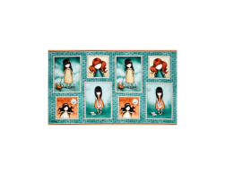 Heartfelt Gorjuss Girl Patch 24'' Panel Teal Fabric