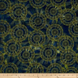 Rise & Shine Mandalas Dark Blue Fabric