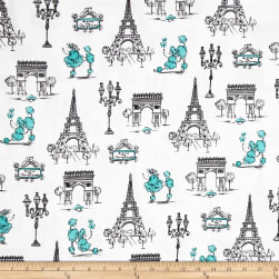 C'Est La Vie Poodles & Paris White Fabric