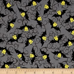 Bite Me Minion Bats Gray Fabric