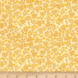 Royal Princess Star & Scroll Yellow Fabric