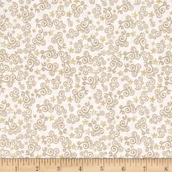 QT Fabrics Royal Princess Star & Scroll White