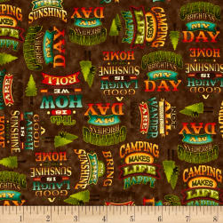 Outdoor Adventure Camping Mottos Brown Fabric