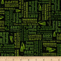 Outdoor Adventure Camping Mottos Tonal Forest Fabric