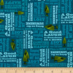 Outdoor Adventure Camping Mottos Tonal Teal Fabric