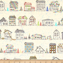 Naughty Or Nice? Christmas Houses Ecru Fabric