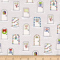QT Fabrics Naughty Or Nice? Christmas Doors Ecru