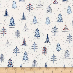 Naughty Or Nice? Christmas Trees Ecru/Light Blue Fabric