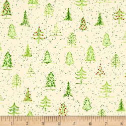 QT Fabrics Naughty Or Nice? Christmas Trees Ecru/Light