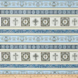 Heavenly Heavenly Decorative Stripe Light Blue Fabric