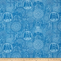 Heavenly Angel Medallions Toile Dark Blue Fabric