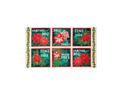 QT Fabrics Joy To The World Metallic Poinsettia