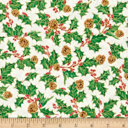 QT Fabrics Joy To The World Metallic Holly