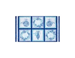 Winter Frost Ornament & Wreath 24'' Panel Patches Blue Fabric