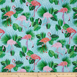 Kaufman Flamingo Paradise Flamingos Aqua Fabric