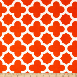 Stretch ITY Knit Quatrefoil Print Orange Fabric
