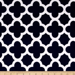 Stretch ITY Knit Quatrefoil Print Navy Fabric