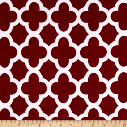 Stretch ITY Knit Quatrefoil Knit Print Burgundy Fabric