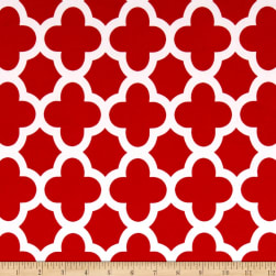 Stretch ITY Knit Quatrefoil Print Red Fabric