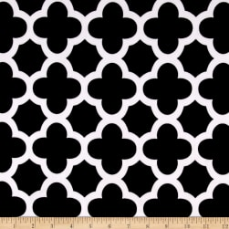 Stretch ITY Knit Quatrefoil Print Black Fabric