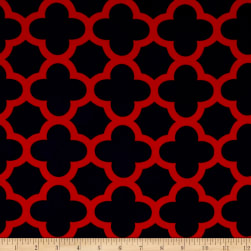 Stretch ITY Knit Quatrefoil Print Navy/Red Fabric