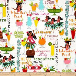 Alexander Henry Tiki Dreams Rum Swizzle Natural Fabric
