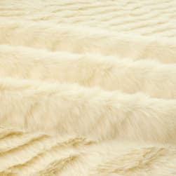 Shannon Faux Fur Solid Mink Ivory Fabric