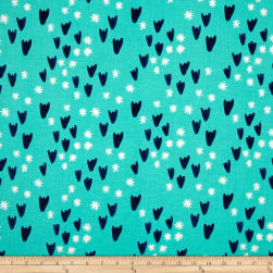Cotton + Steel Clover Tulips Aqua Fabric